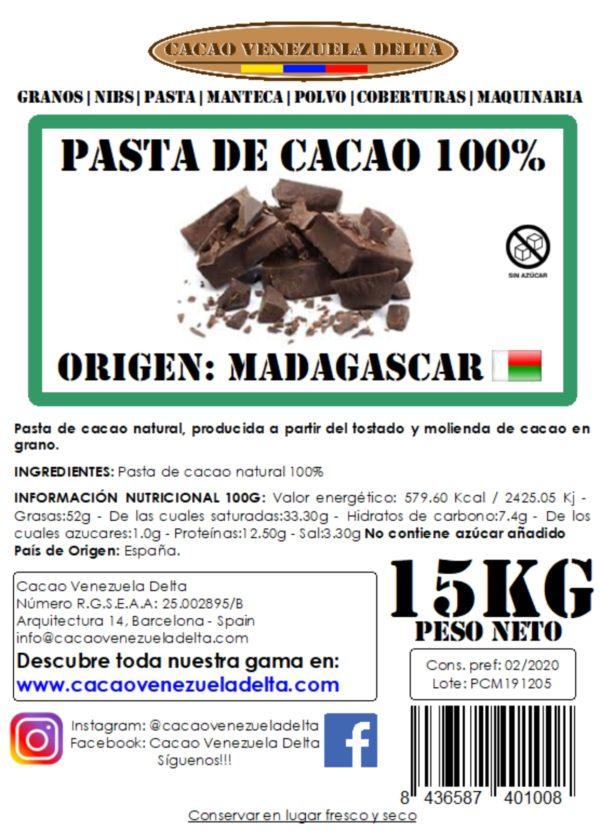PASTA DE CACAO - MADAGASCAR - 15KG