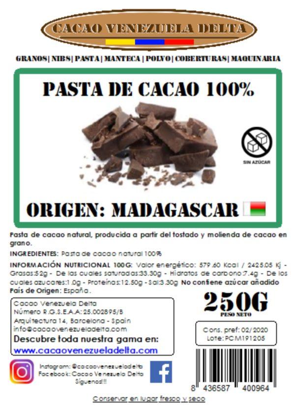 PASTA DE CACAO - MADAGASCAR - 250G
