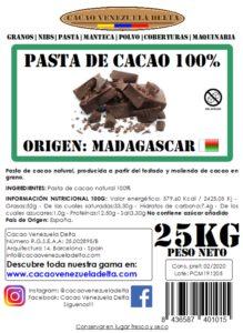 PASTA DE CACAO - MADAGASCAR - 25KG