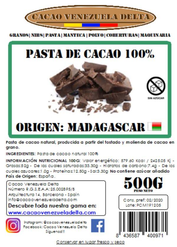 PASTA DE CACAO - MADAGASCAR - 500G
