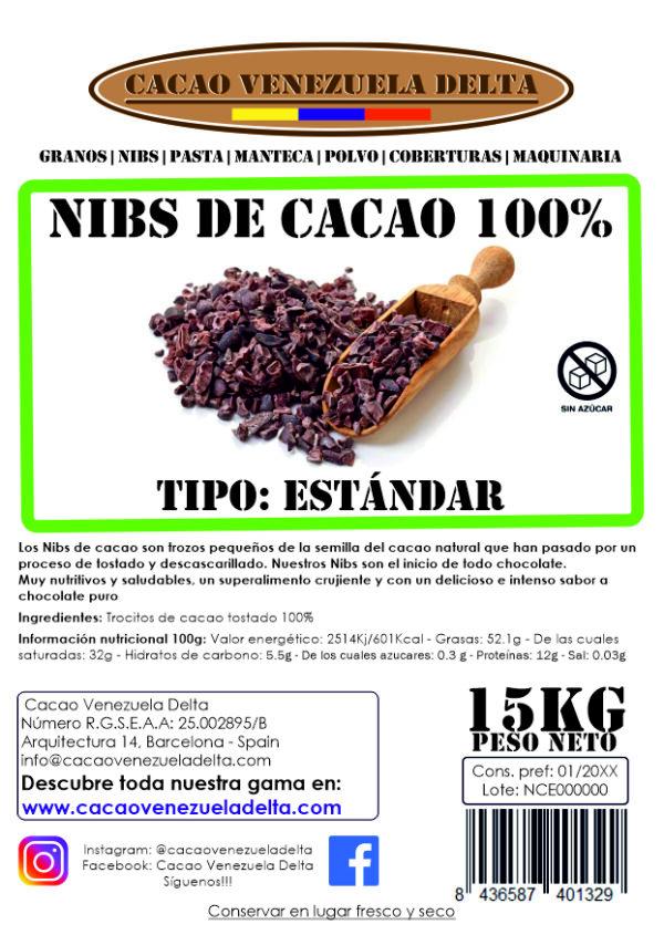 ETIQUETA - NIBS DE CACAO - ESTANDAR - 15KG
